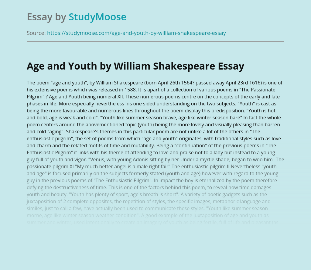 Age and Youth by William Shakespeare