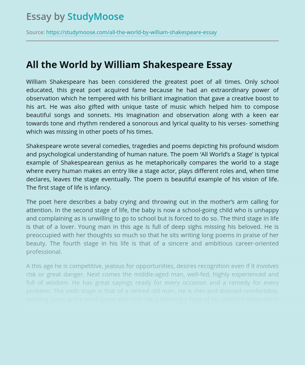 All the World by William Shakespeare