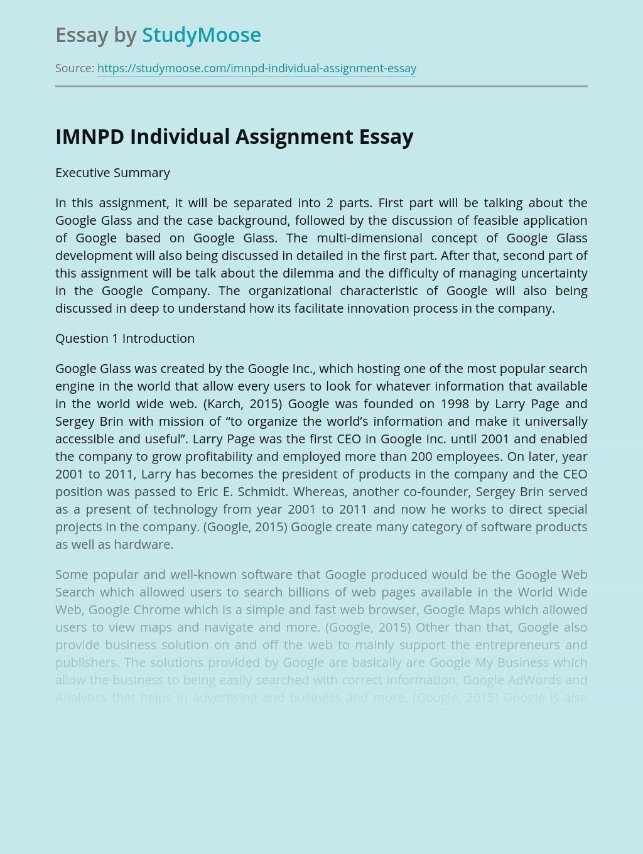 IMNPD Individual Assignment