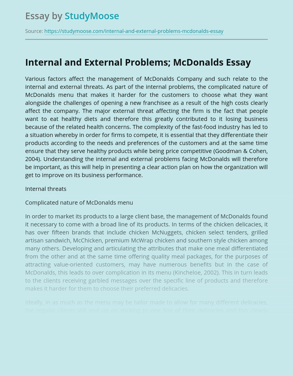 Internal and External Problems; McDonalds