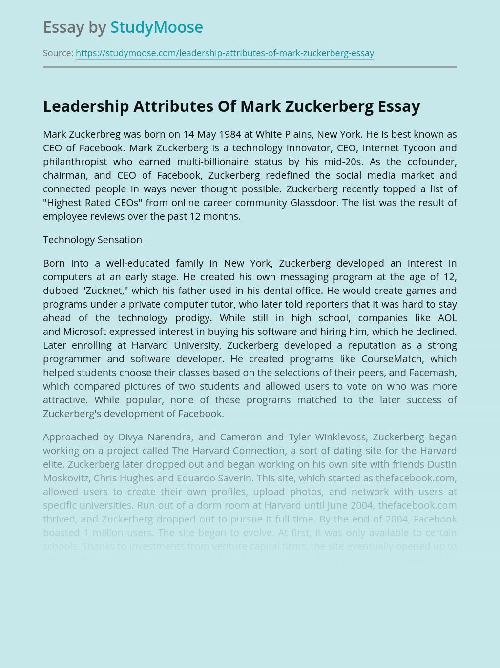 Leadership Attributes Of Mark Zuckerberg