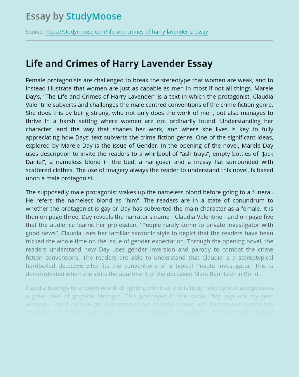Life and Crimes of Harry Lavender