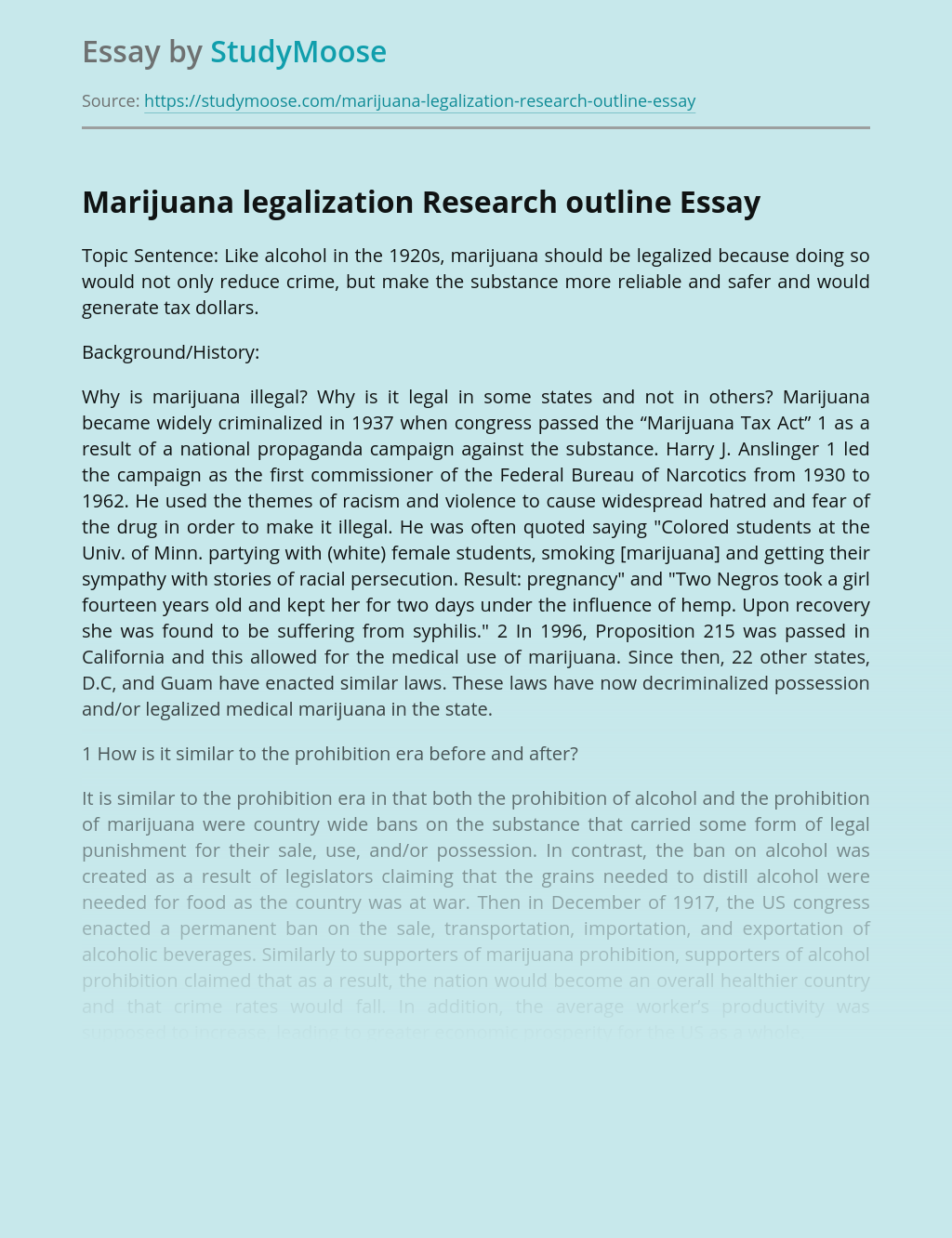Marijuana legalization Research outline