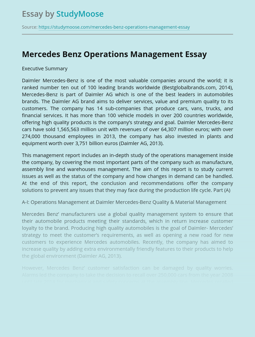 Mercedes Benz Operations Management