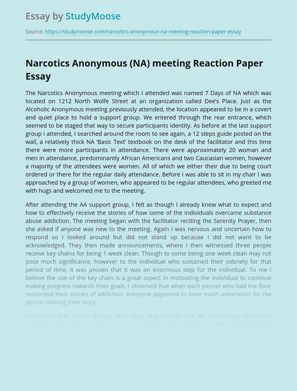 Narcotics Anonymous (NA) Meeting Reaction Paper