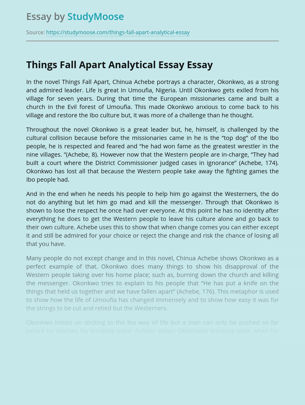 Things Fall Apart Analytical Essay