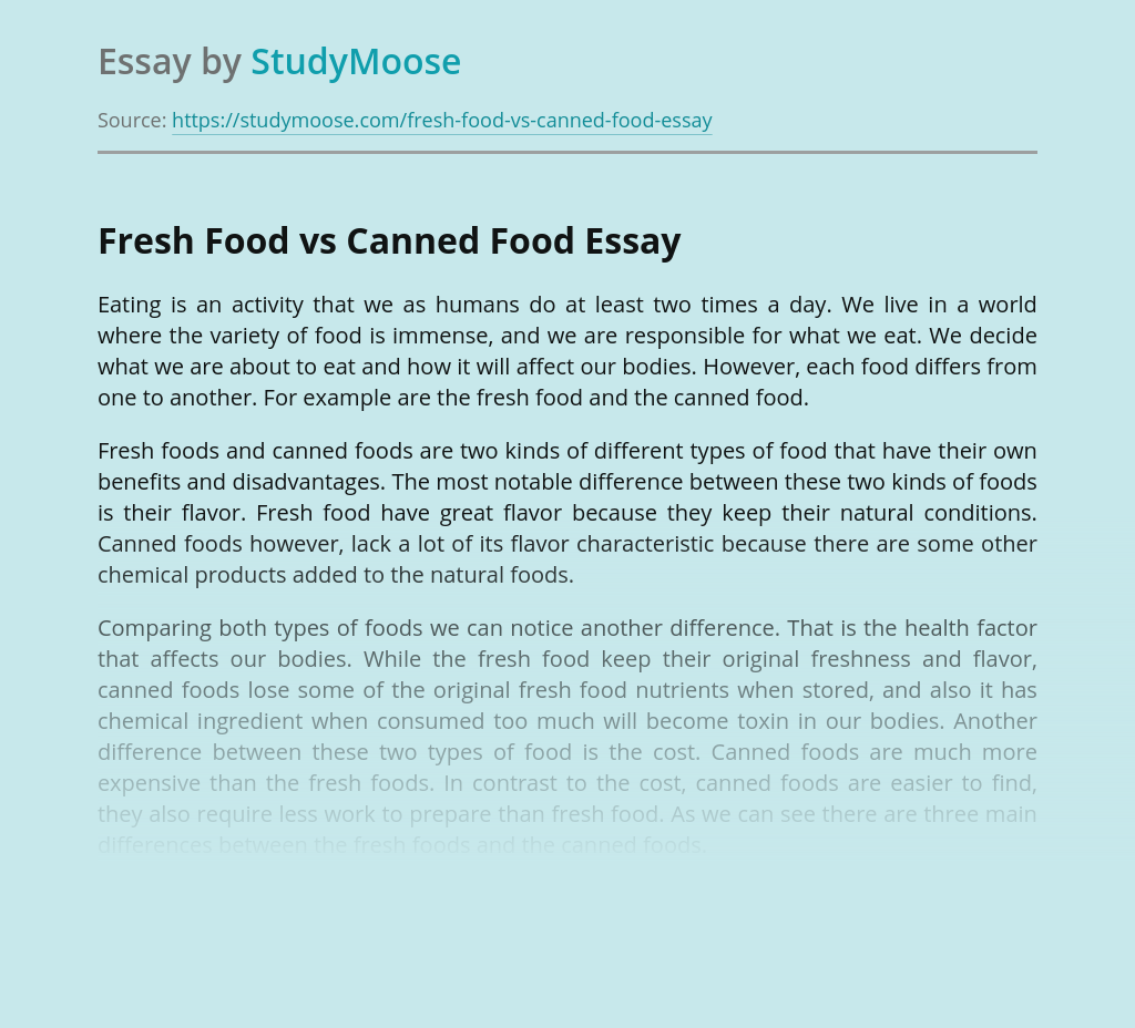 Fresh Food vs Canned Food
