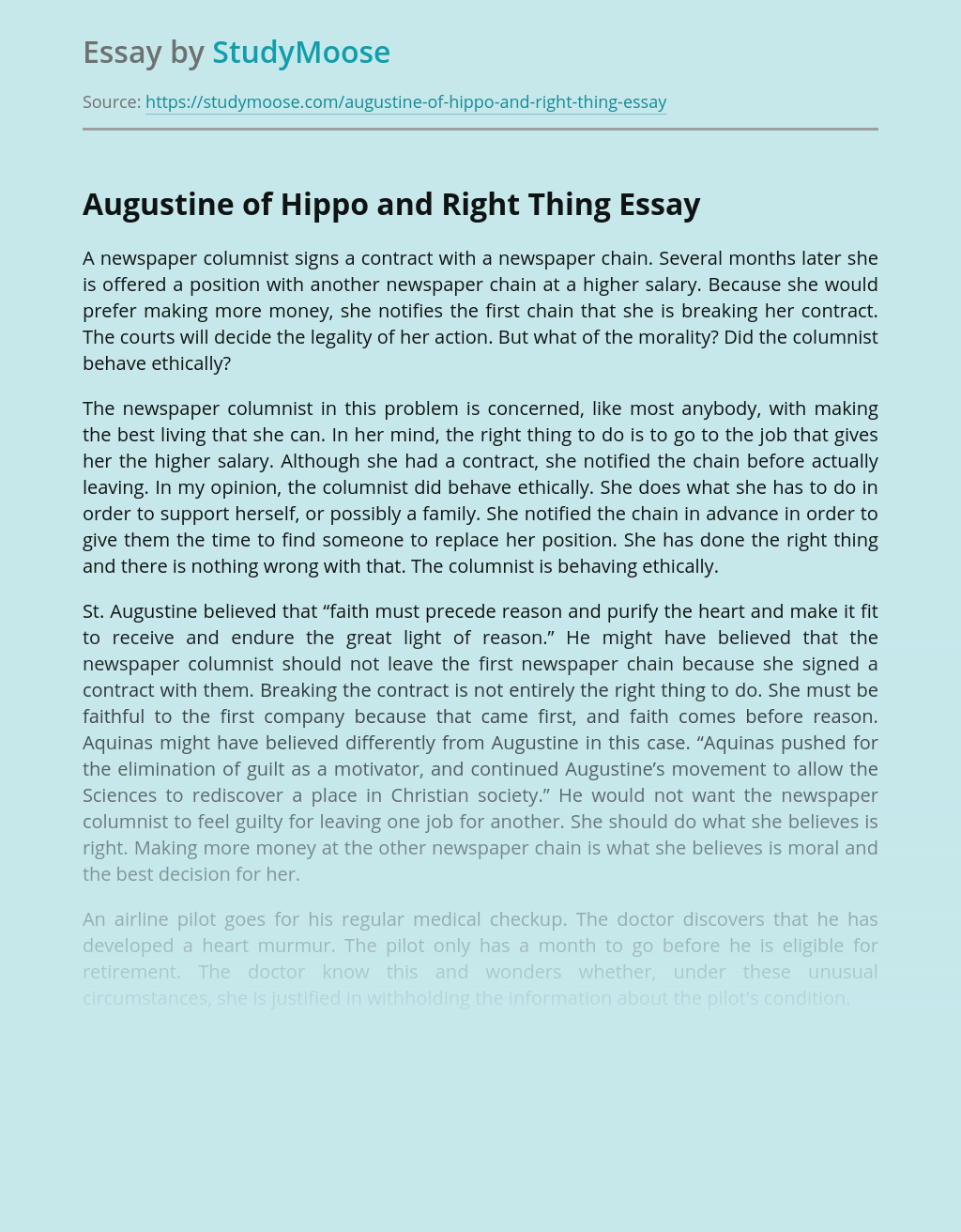 Augustine of Hippo and The Moral Thing
