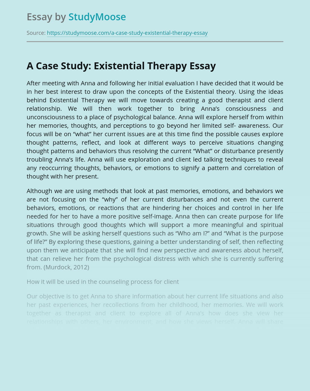 A Case Study: Existential Therapy
