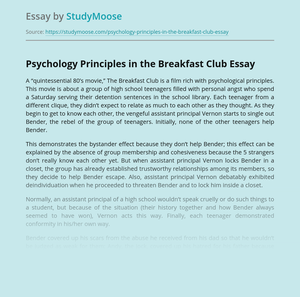 Psychology Principles in the Breakfast Club
