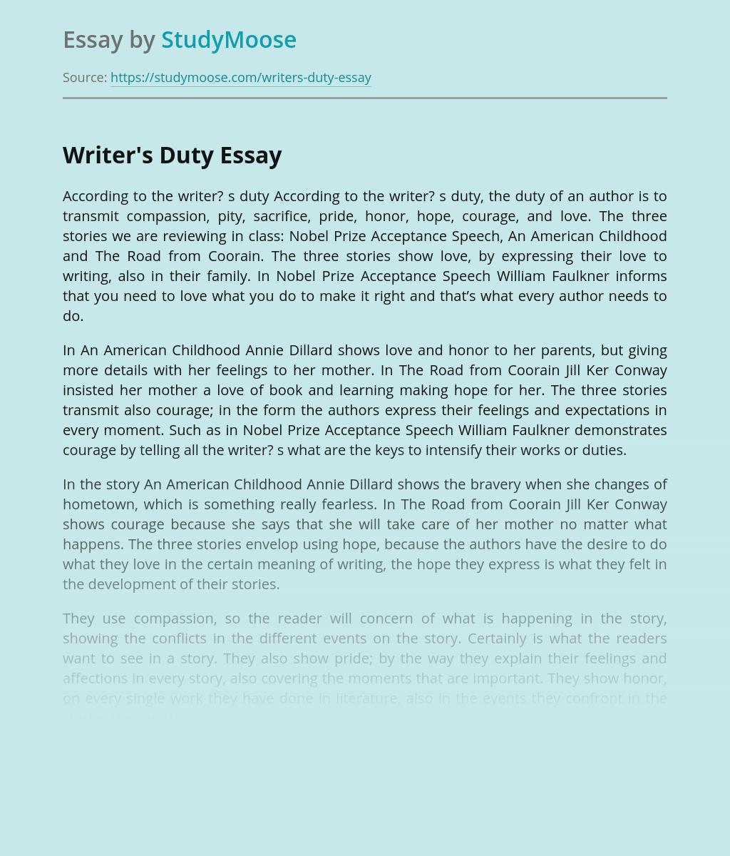 Writer's Duty