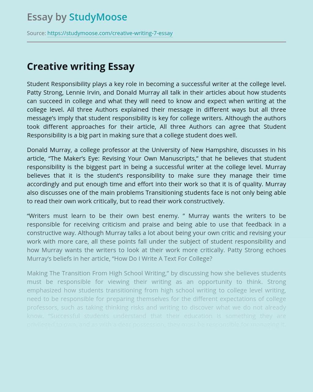 Creative writing for Students