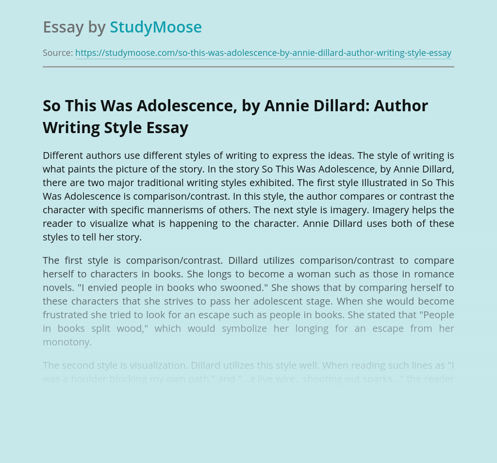 So This Was Adolescence, by Annie Dillard: Author Writing Style