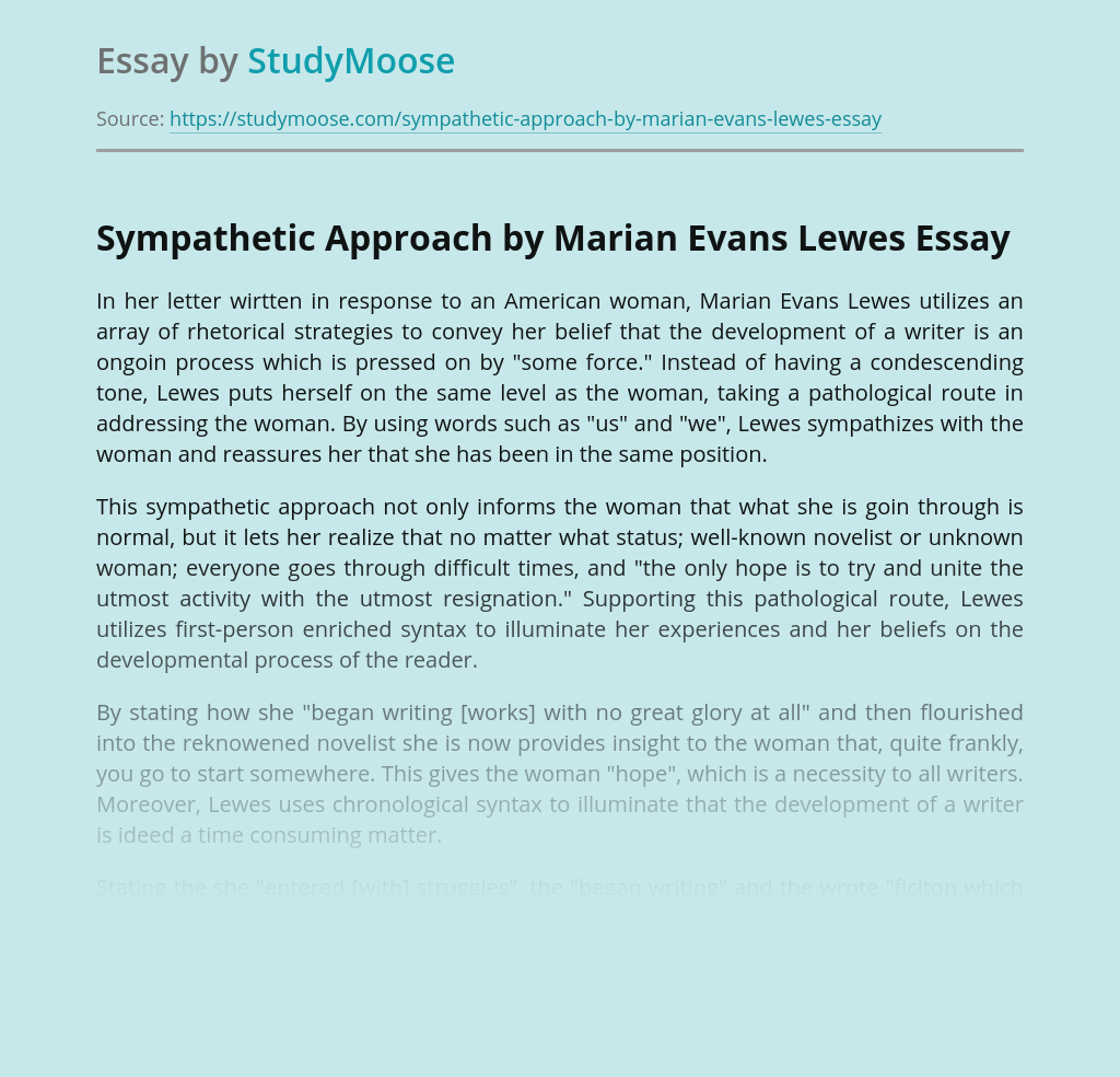 Sympathetic Approach by Marian Evans Lewes