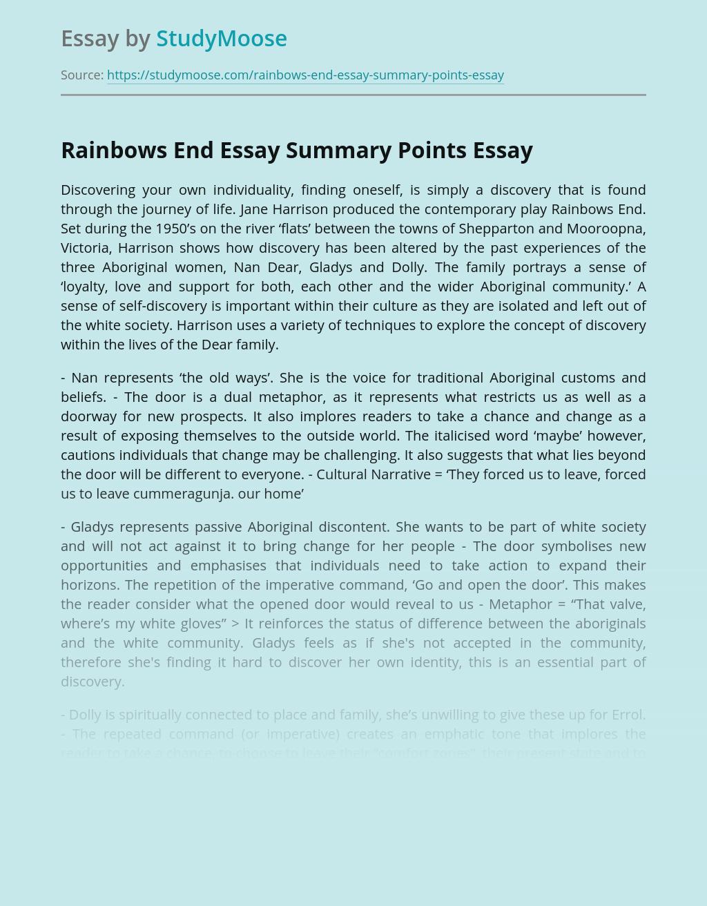 Rainbows End Essay Summary Points
