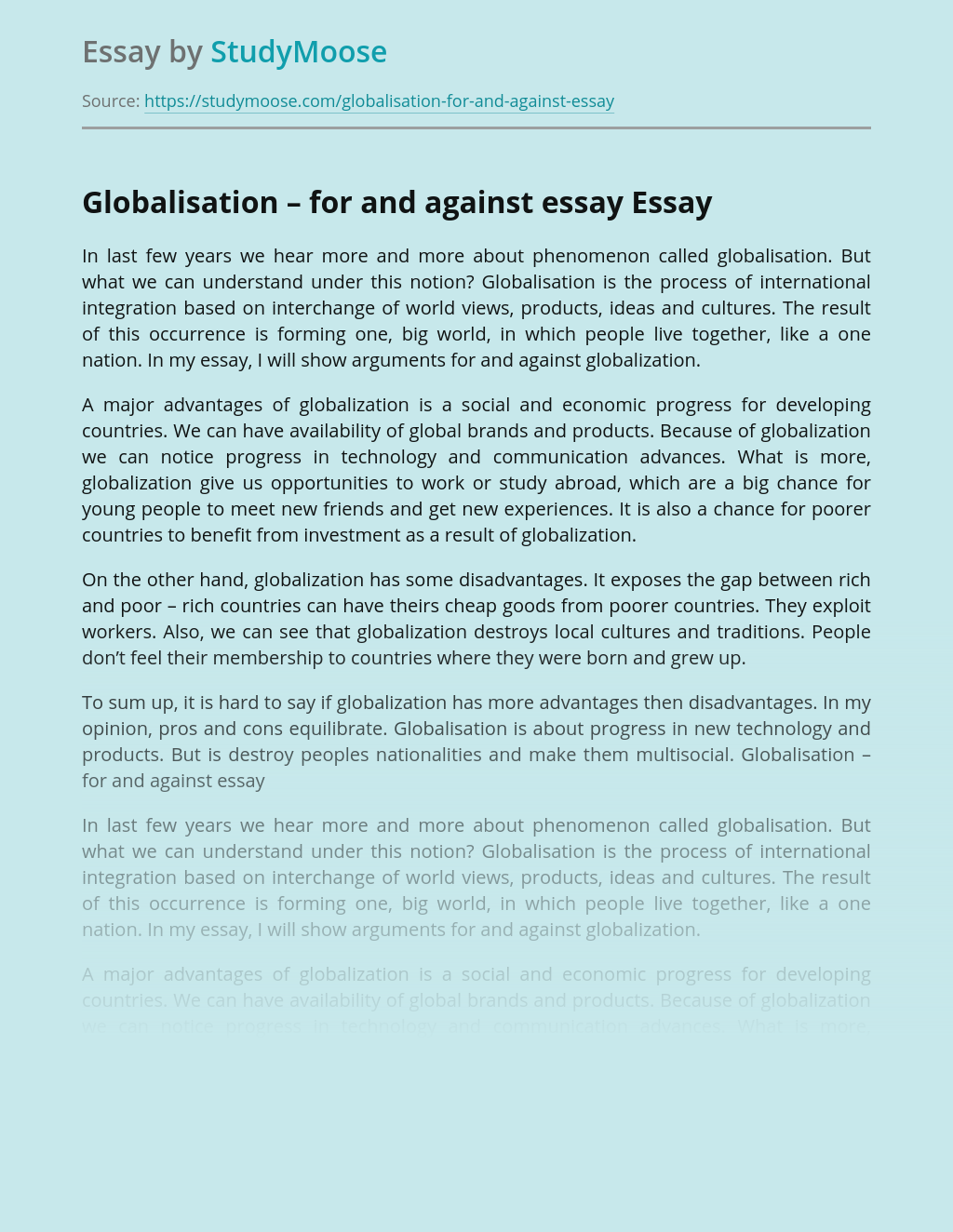 Globalisation – for and against essay