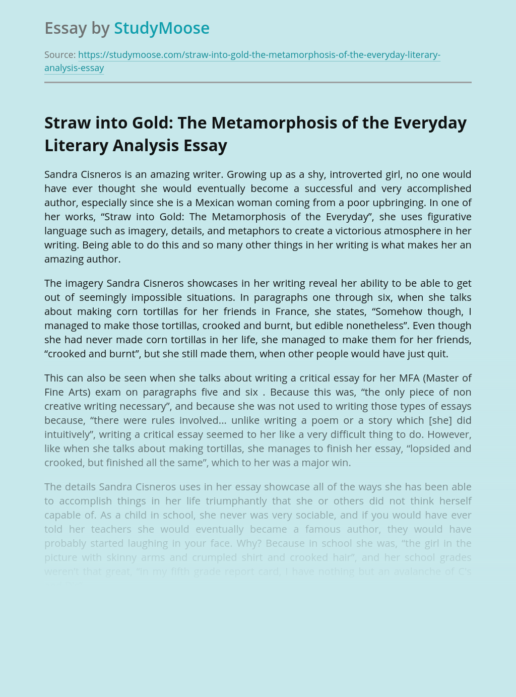 Straw into Gold: The Metamorphosis of the Everyday Literary Analysis