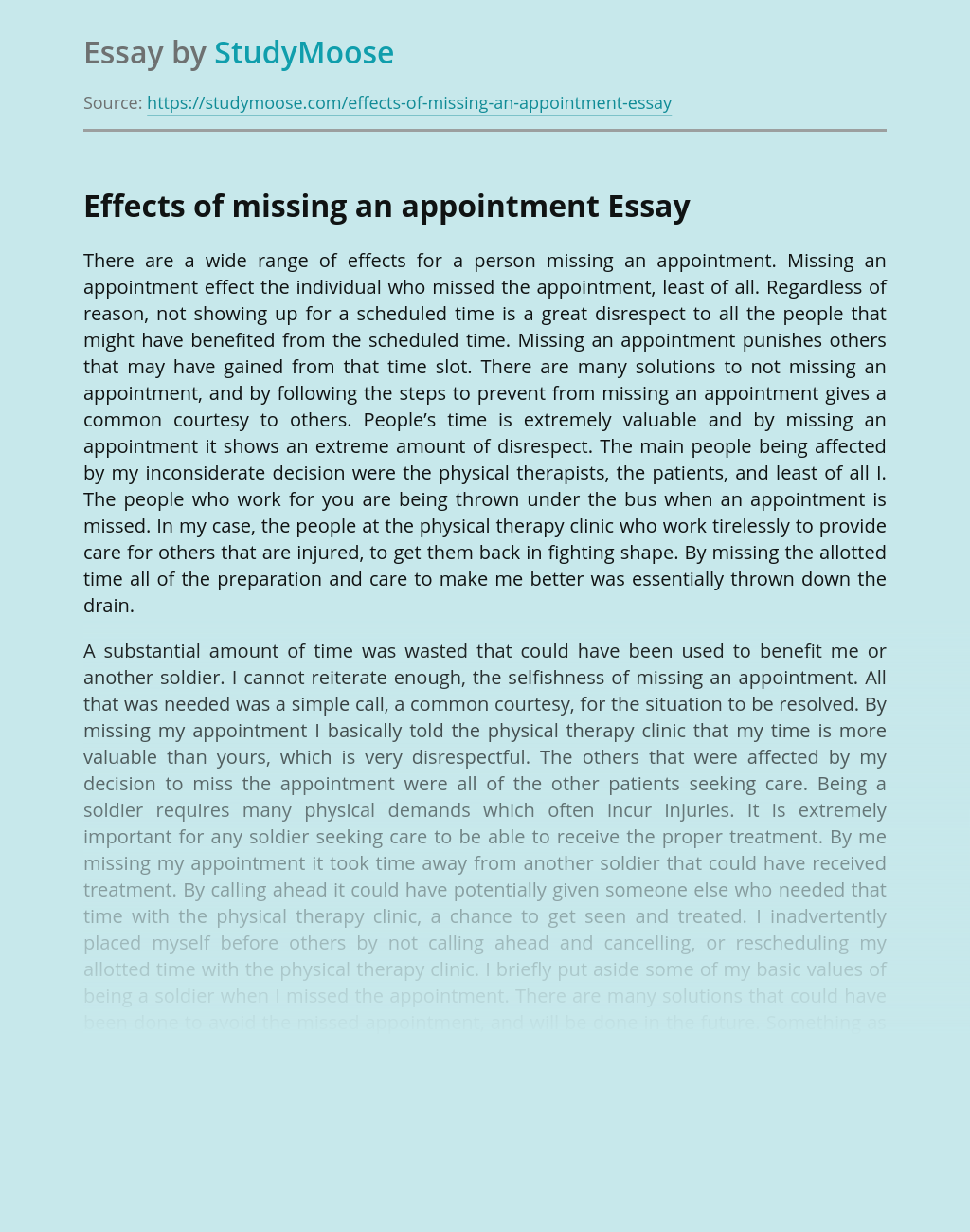 Reasons for and Consequences of Missed Appointments