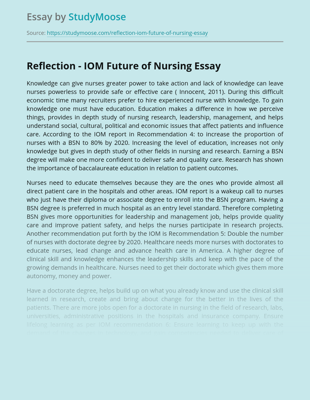 Reflection - IOM Future of Nursing