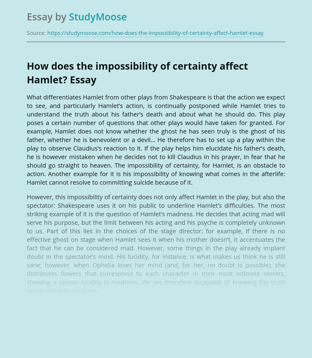 How does the impossibility of certainty affect Hamlet?