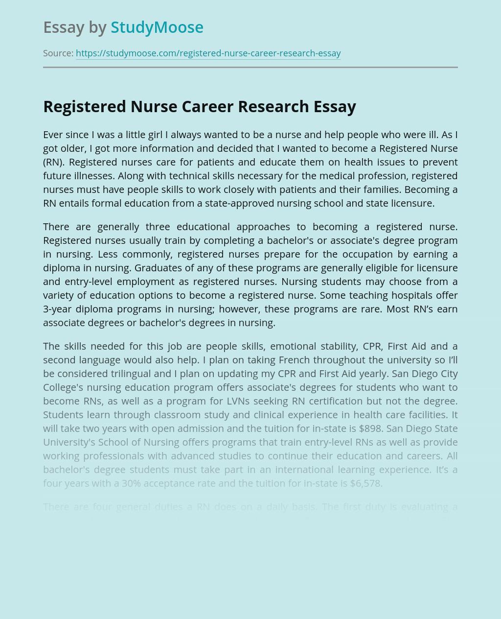 Registered Nurse Career Research