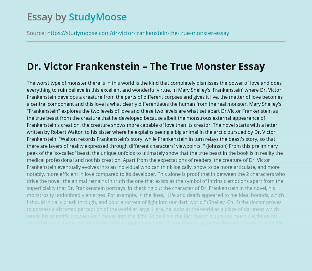 Dr. Victor Frankenstein – The True Monster