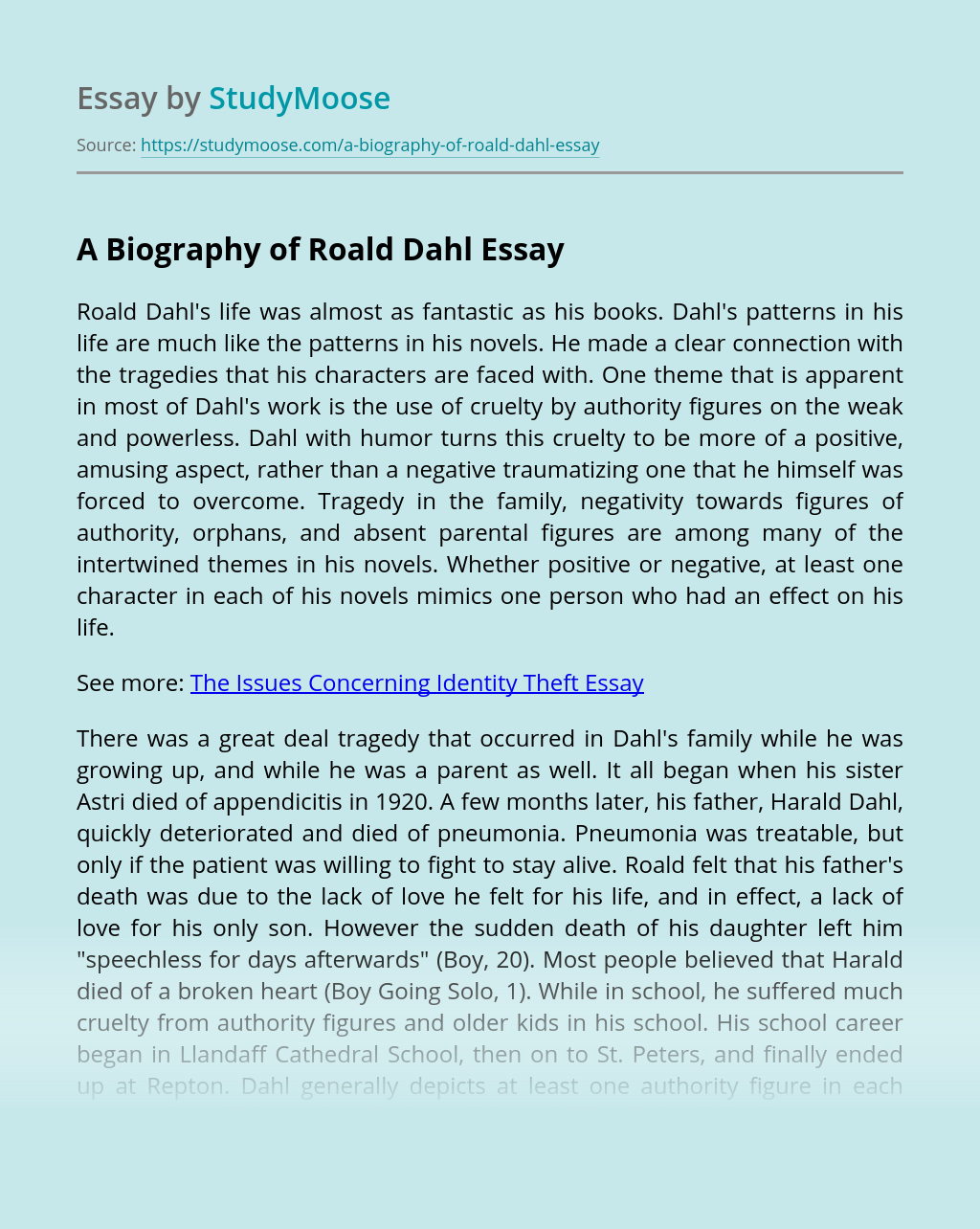 A Biography of Roald Dahl
