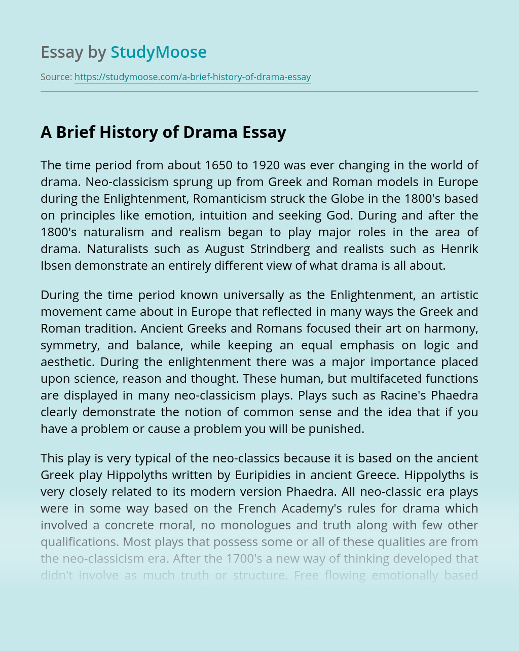 A Brief History of Drama