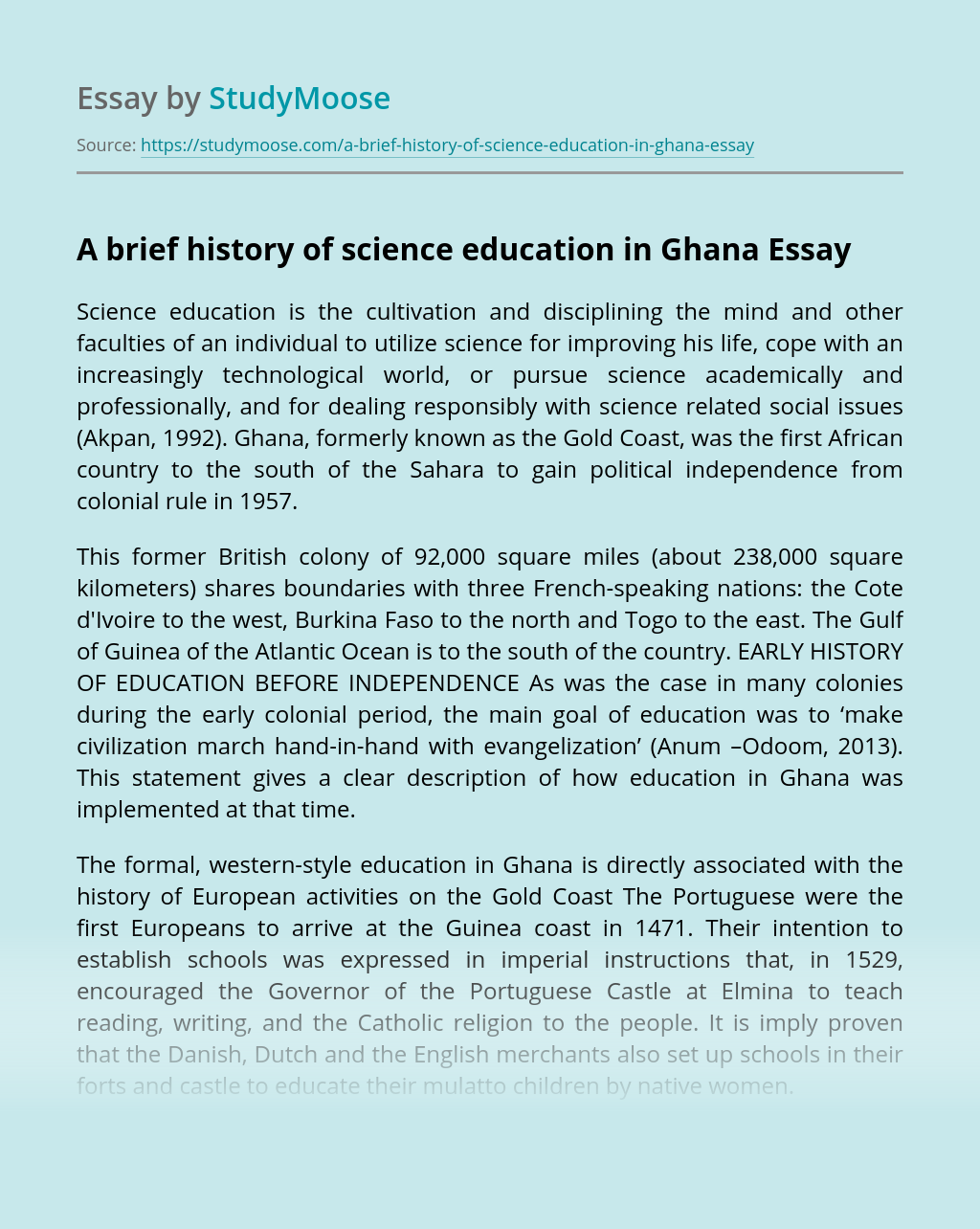 A brief history of science education in Ghana