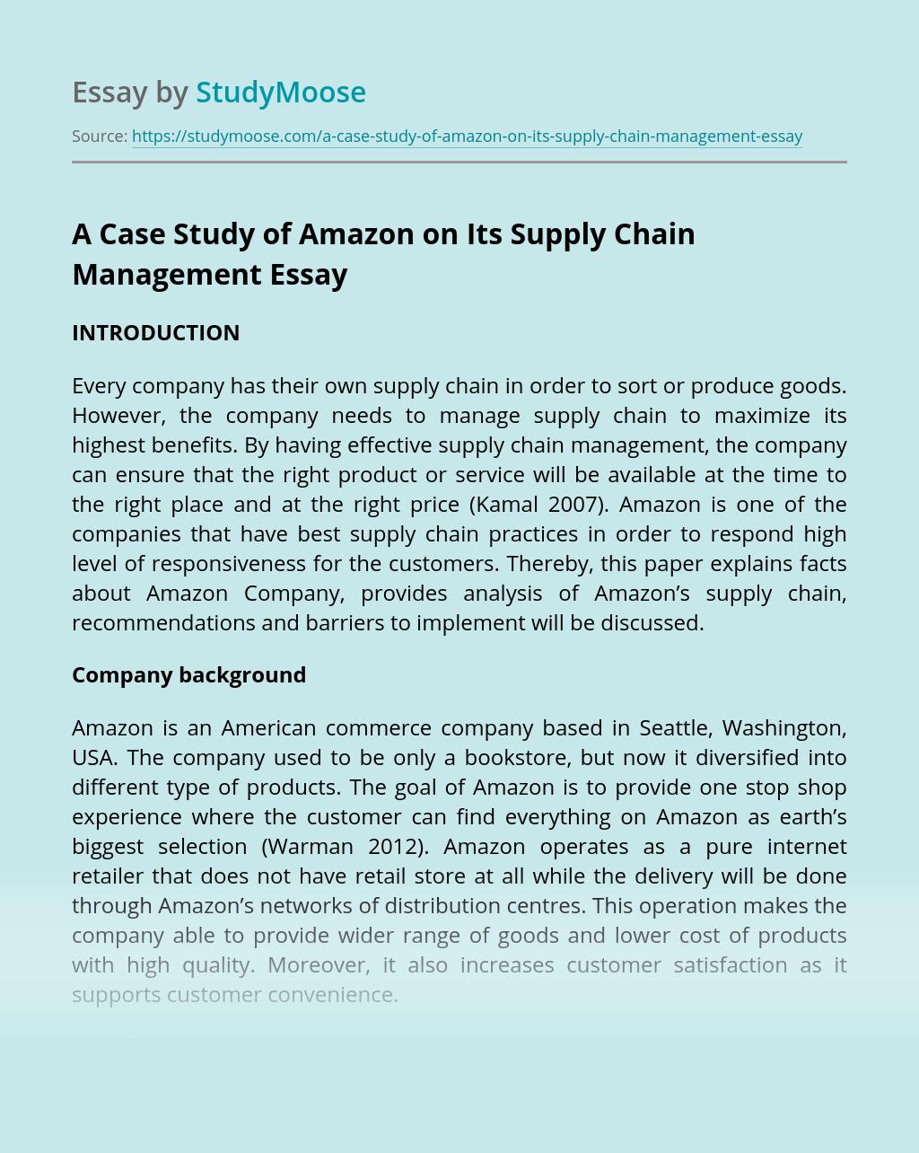 A Case Study of Amazon on Its Supply Chain Management