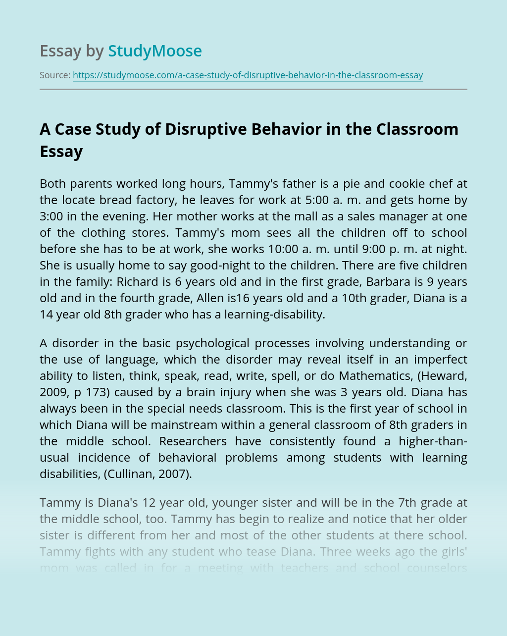 essay for disruptive students