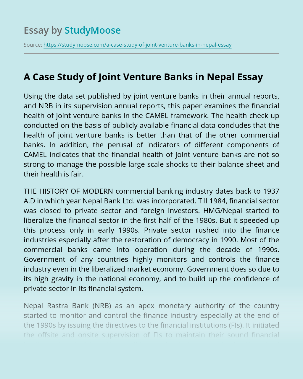 A Case Study of Joint Venture Banks in Nepal