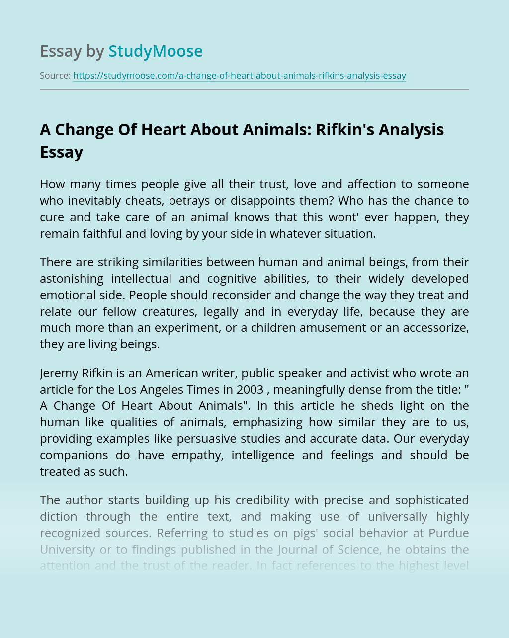A Change Of Heart About Animals: Rifkin's Analysis