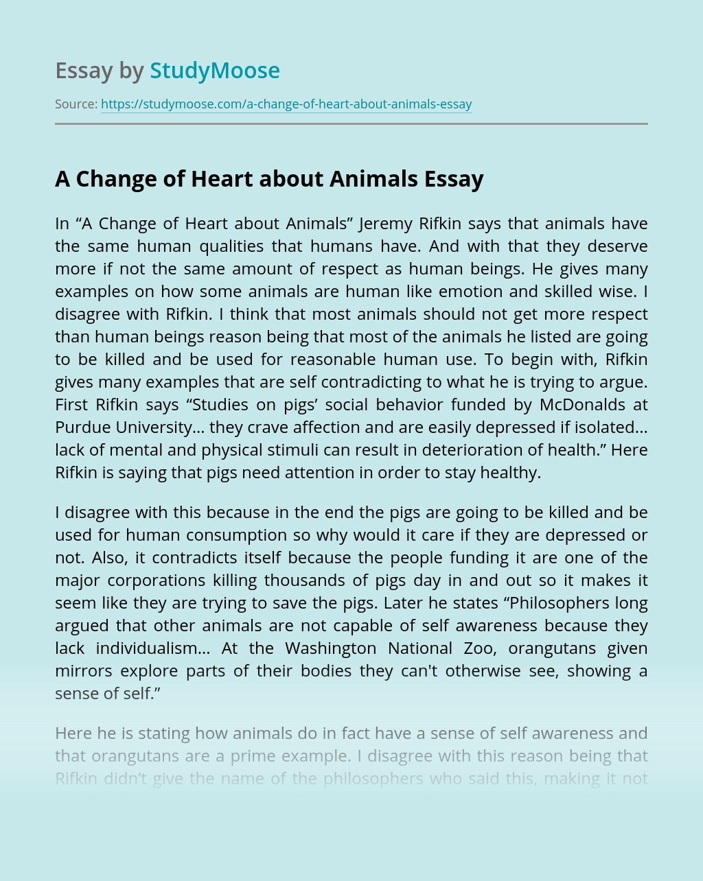 A Change of Heart about Animals