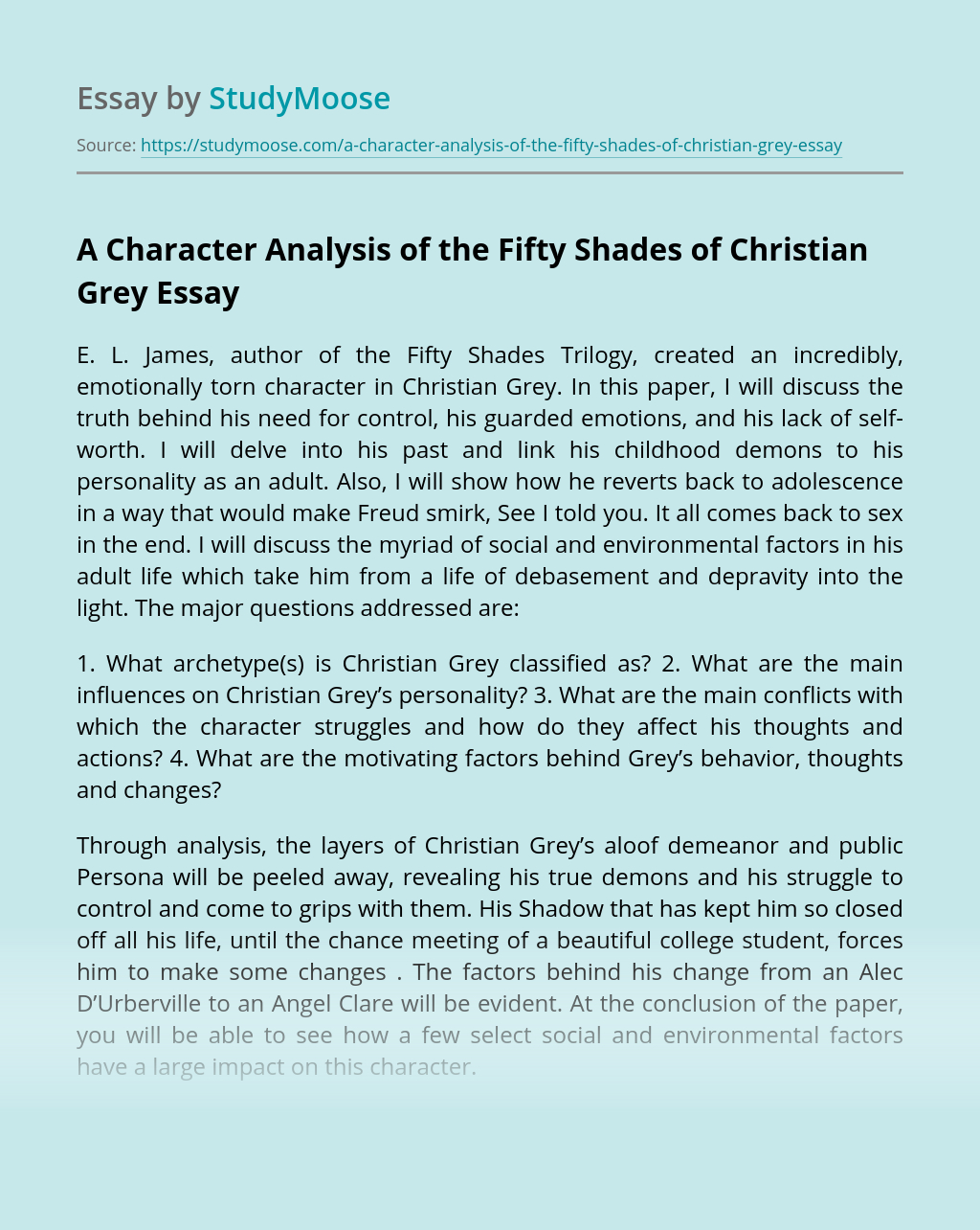 A Character Analysis of the Fifty Shades of Christian Grey