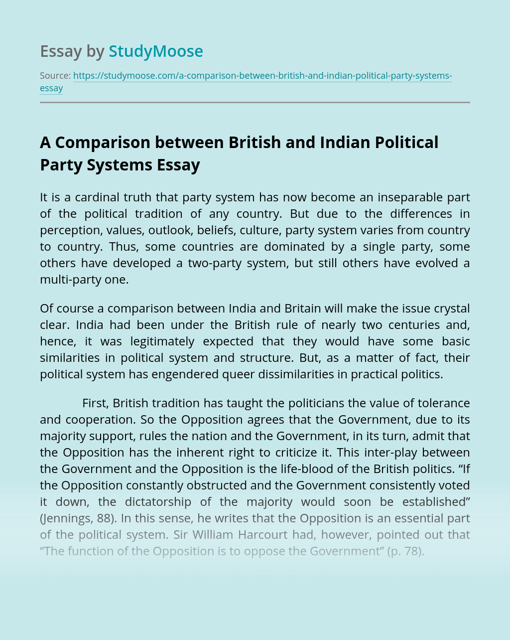 A Comparison between British and Indian Political Party Systems