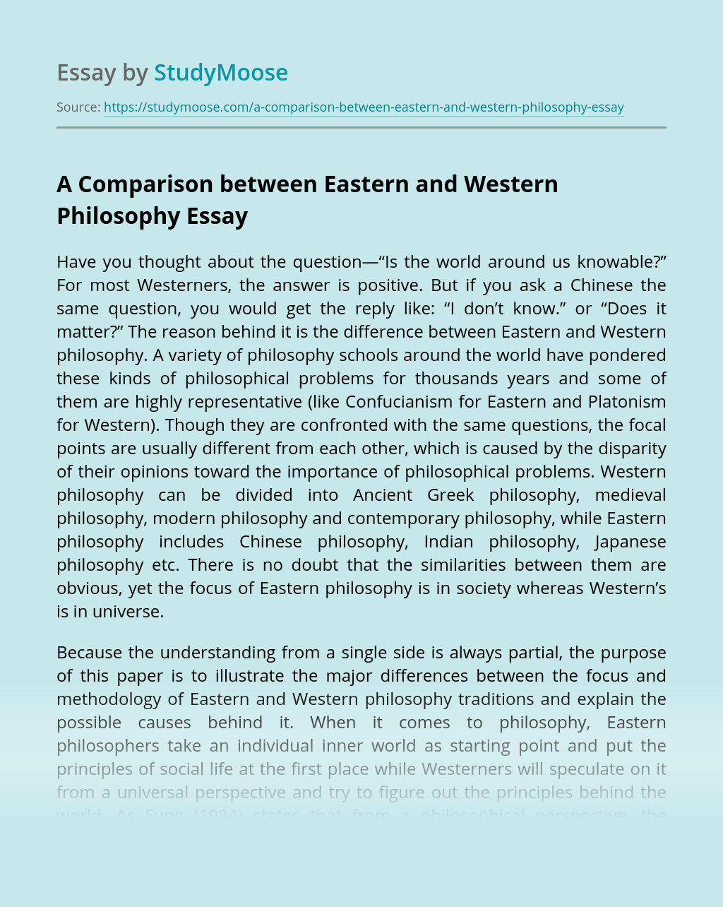 A Comparison between Eastern and Western Philosophy
