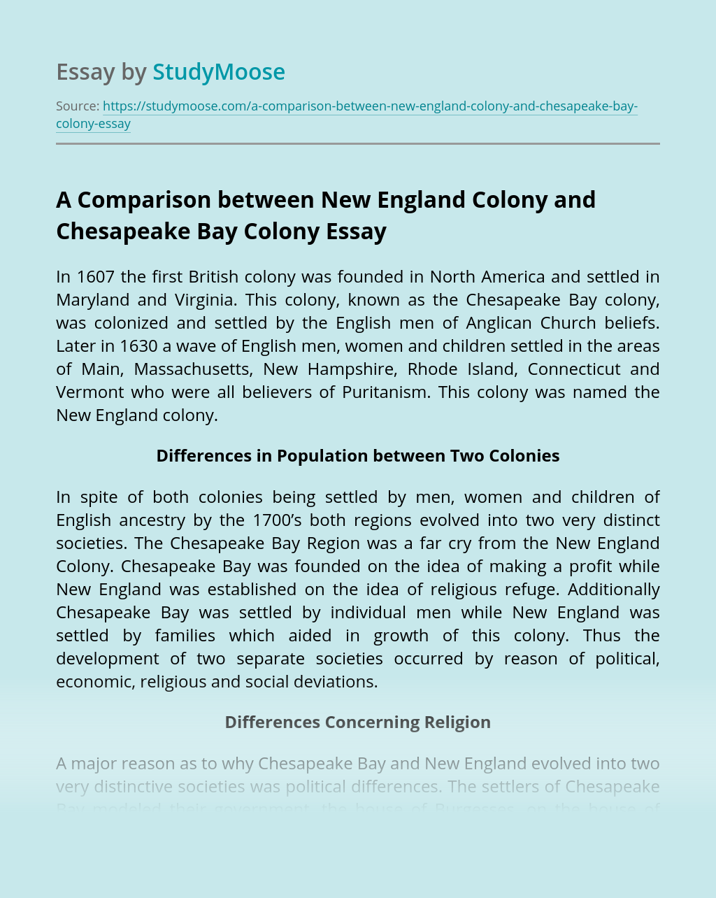 A Comparison between New England Colony and Chesapeake Bay Colony