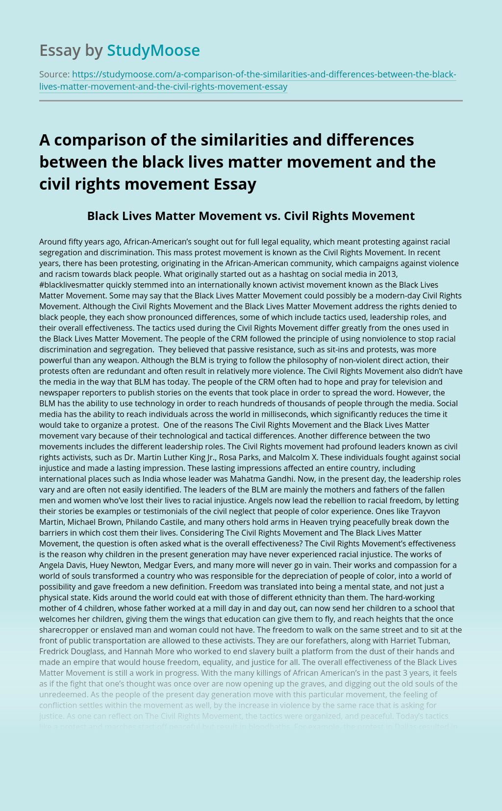 A comparison of the similarities and differences between the black lives matter movement and the civil rights movement