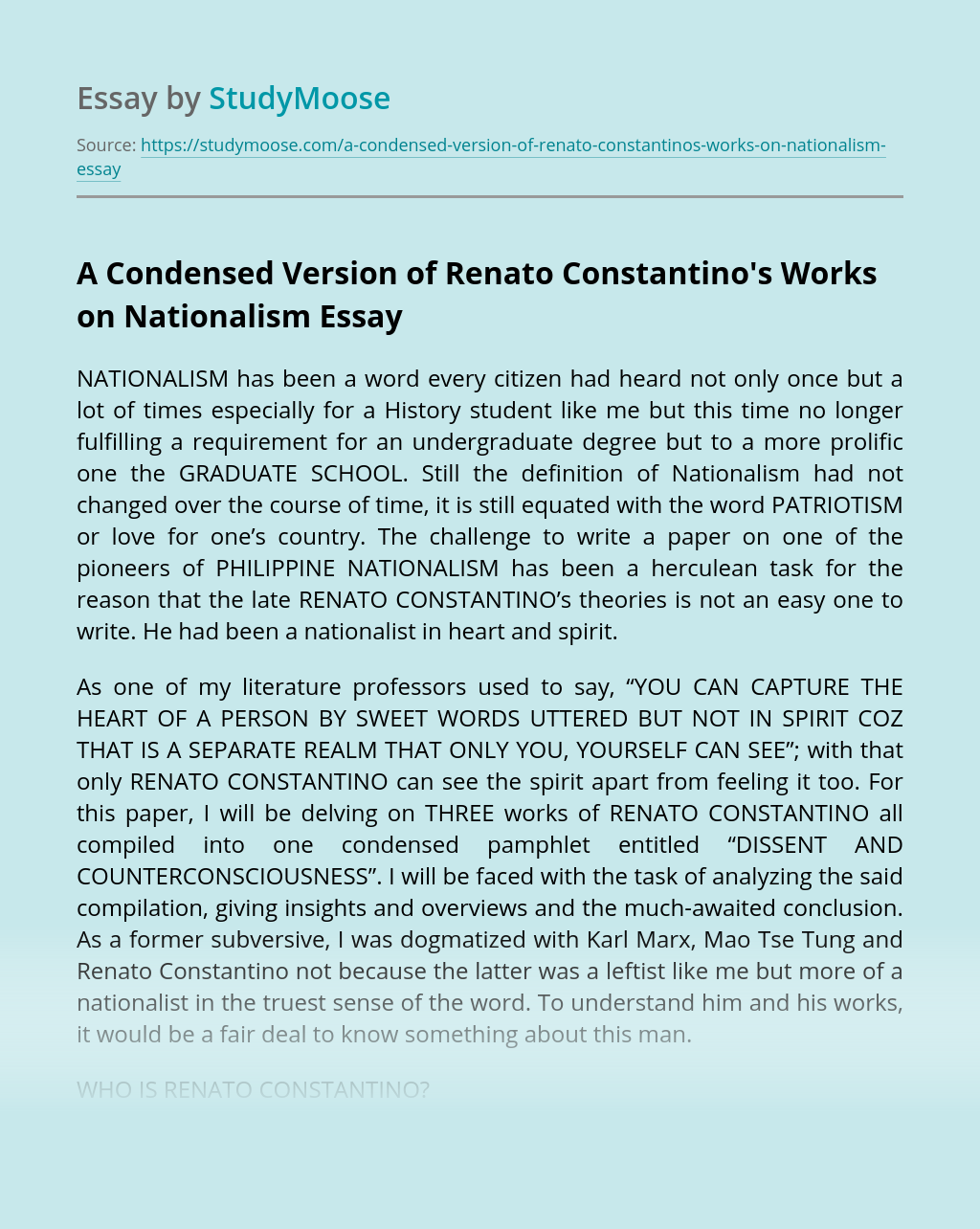 A Condensed Version of Renato Constantino's Works on Nationalism