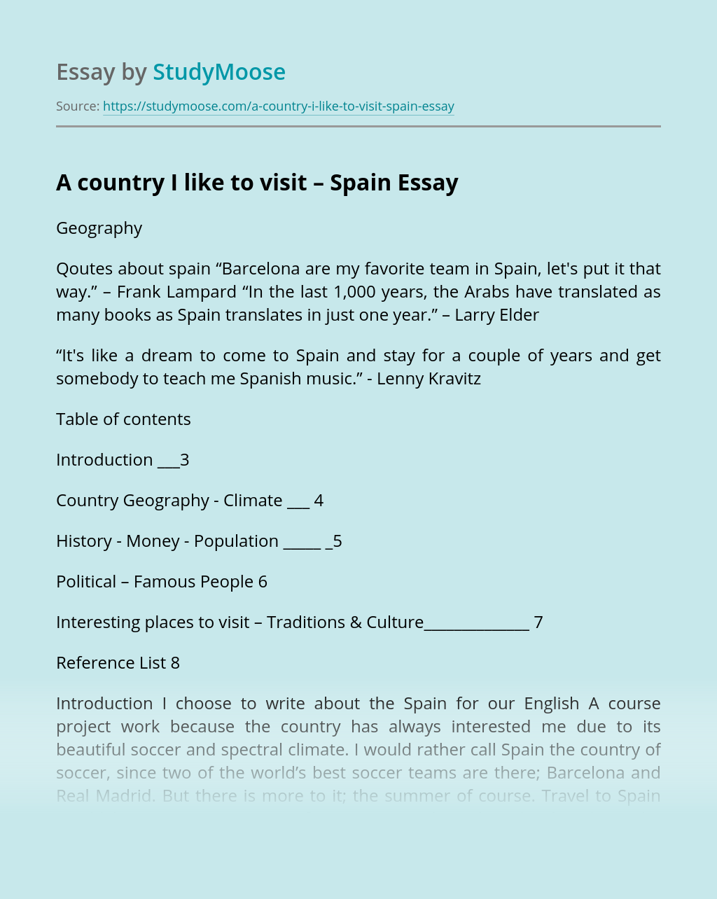 A country I like to visit – Spain