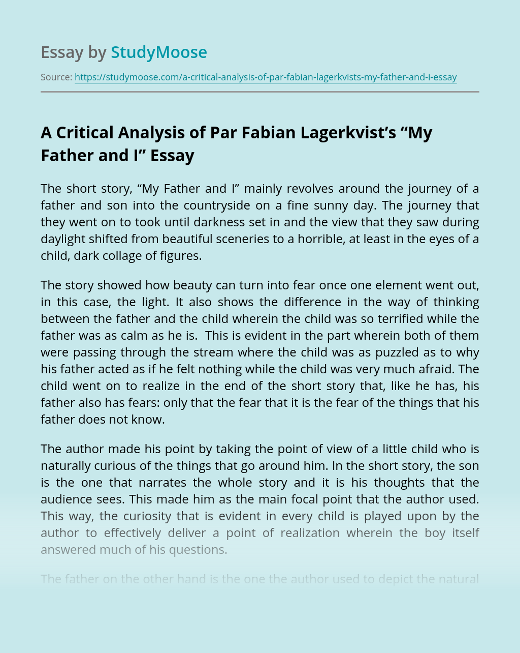 """A Critical Analysis of Par Fabian Lagerkvist's """"My Father and I"""""""