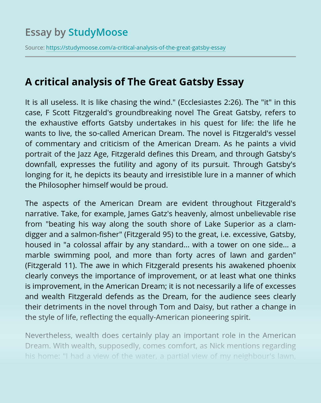 A critical analysis of The Great Gatsby