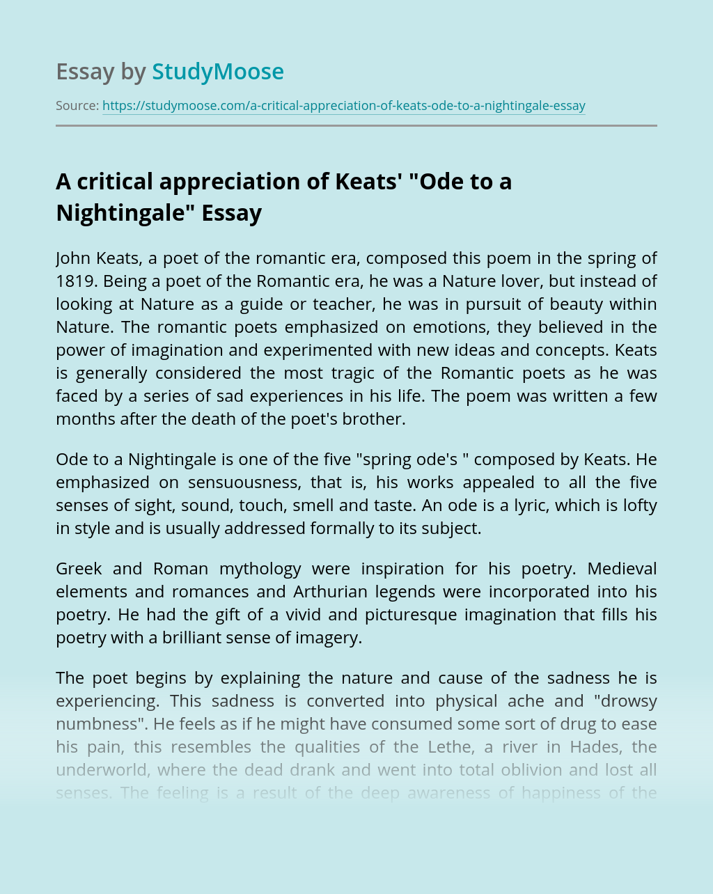 "A critical appreciation of Keats' ""Ode to a Nightingale"""