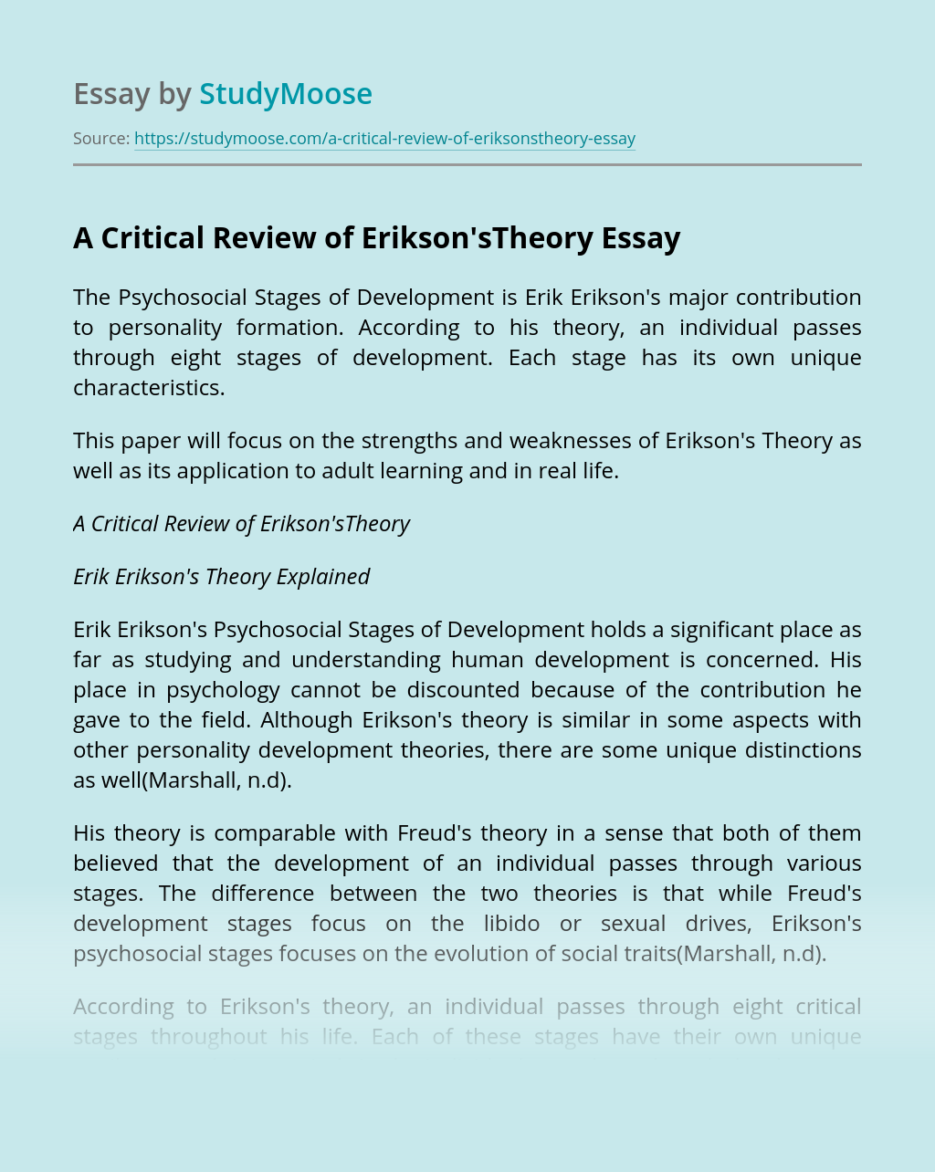 A Critical Review of Erikson'sTheory
