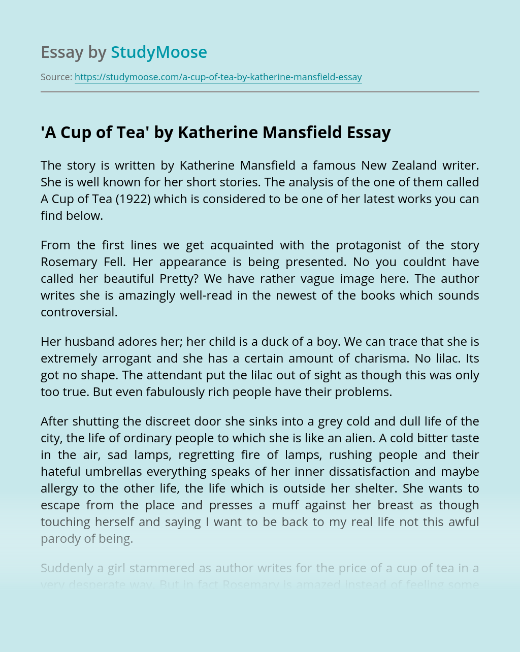 'A Cup of Tea' by Katherine Mansfield