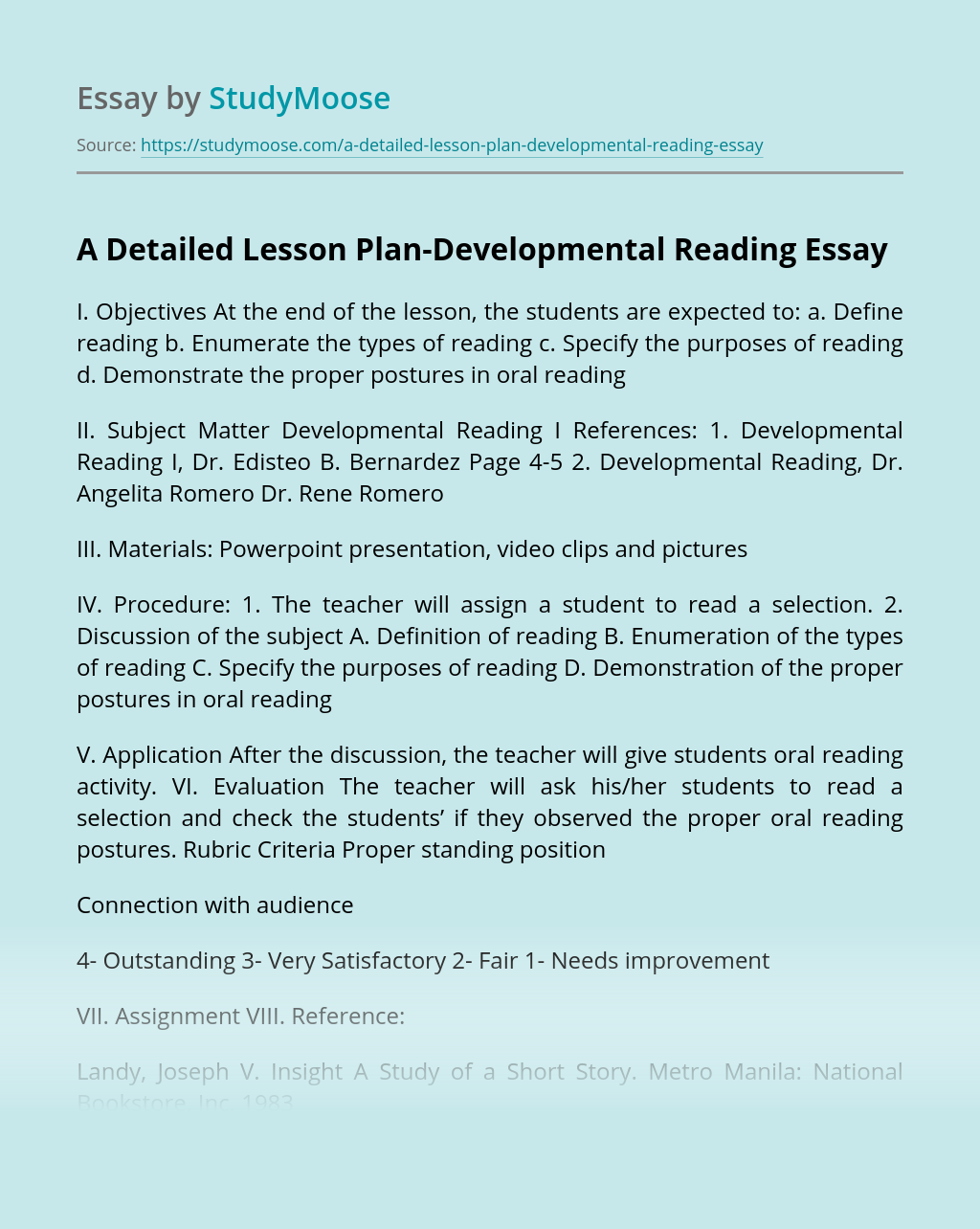 A Detailed Lesson Plan-Developmental Reading