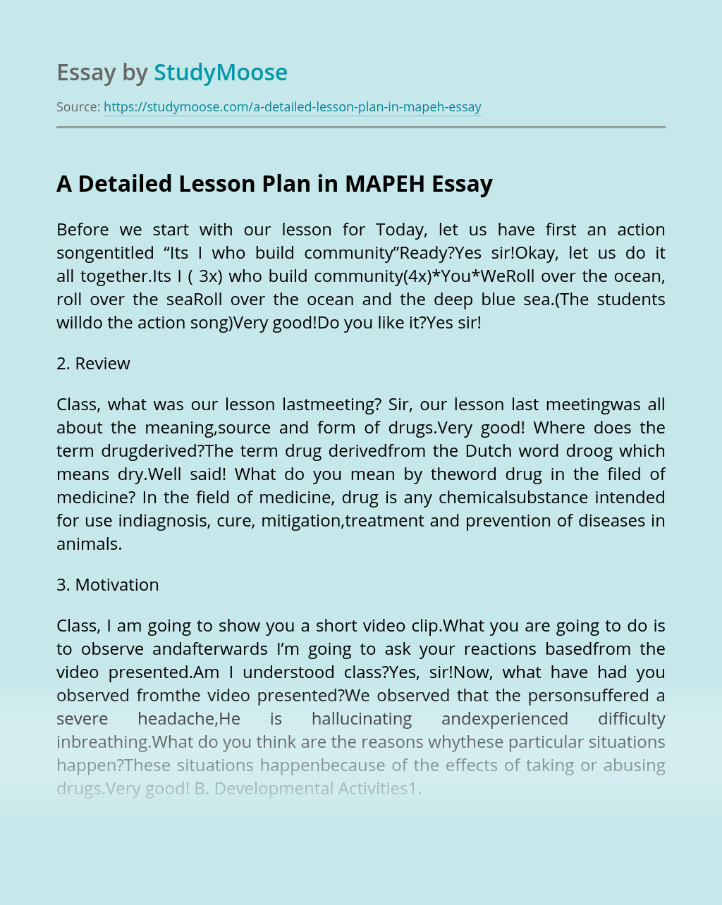 ?A Detailed Lesson Plan in MAPEH