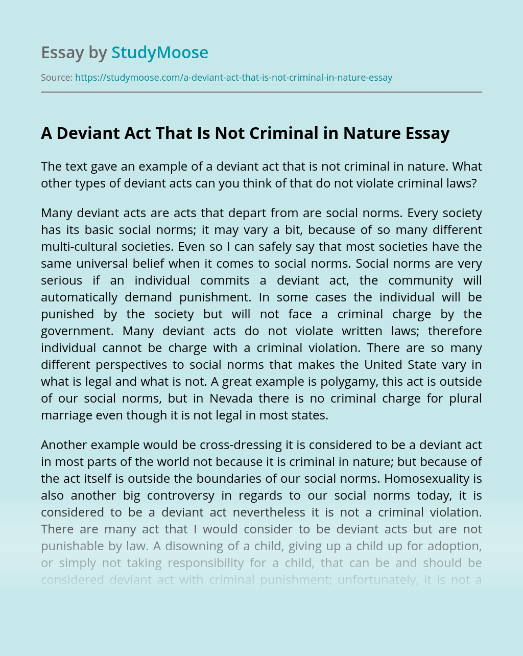 A Deviant Act That Is Not Criminal in Nature