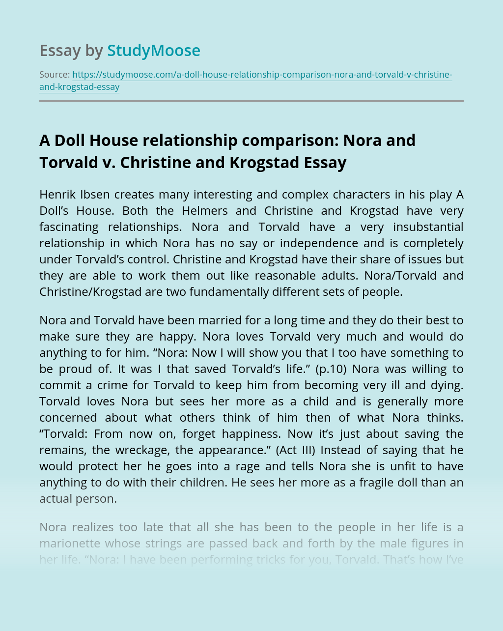 A Doll House relationship comparison: Nora and Torvald v. Christine and Krogstad